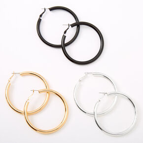 Mixed Metal 60MM Tube Hoop Earrings - 3 Pack,