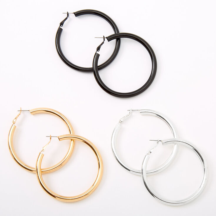 Mixed Metal 60MM Tube Hoop Earrings - 3 Pack,