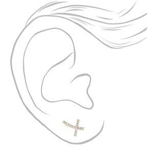 """Silver 1"""" Cross Ear Crawler Earrings,"""