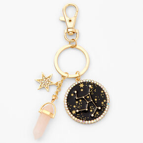 Porte-clés zodiaque avec cristaux de guérison (imitation) couleur dorée - Vierge,