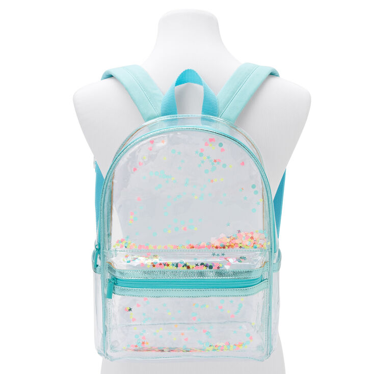 Transparent Confetti Small Backpack - Blue,