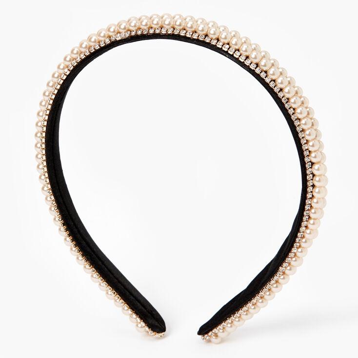 Rose Gold Rhinestone Pearl Multi-Row Headband - Blush,