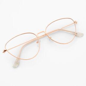 Lunettes aux verres transparents œil de chat couleur doré rose,