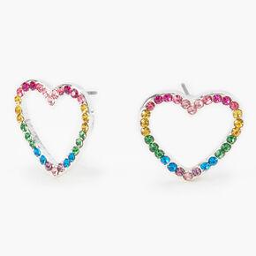 Silver Rainbow Embellished Heart Stud Earrings,