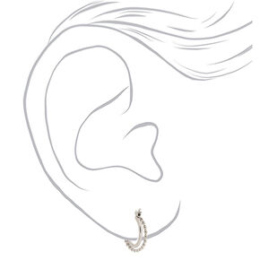 Silver 15MM Braided Double Hoop Earrings,