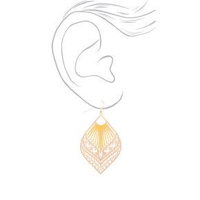"Gold 2.5"" Filigree Threaded Drop Earrings - Yellow,"