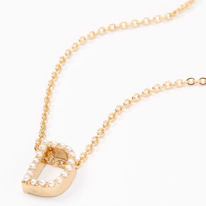 Gold Pearl Initial Chain Necklace - D,