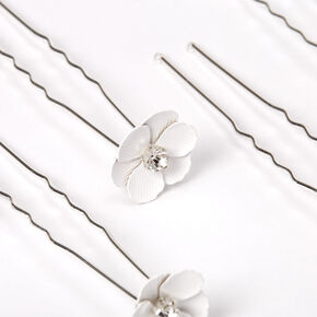 Crystal Flower Hair Pins - White, 6 Pack,