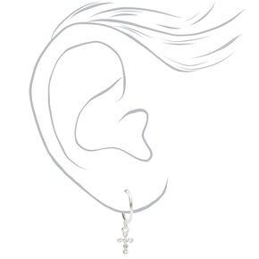 Silver Embellished Mixed Cross Earrings - 9 Pack,