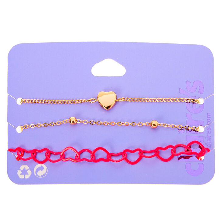 Gold Mixed Heart Chain Bracelets - Pink, 3 Pack,