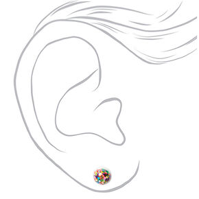 Silver Rainbow Shaker Stud Earrings - 3 Pack,