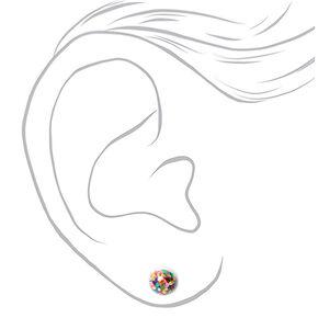 Silver Rainbow Shaker Stud Earrings - 3 Pack,