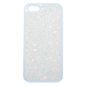 White Crushed Glitter Protective Phone Case - Fits iPhone 5/5S,