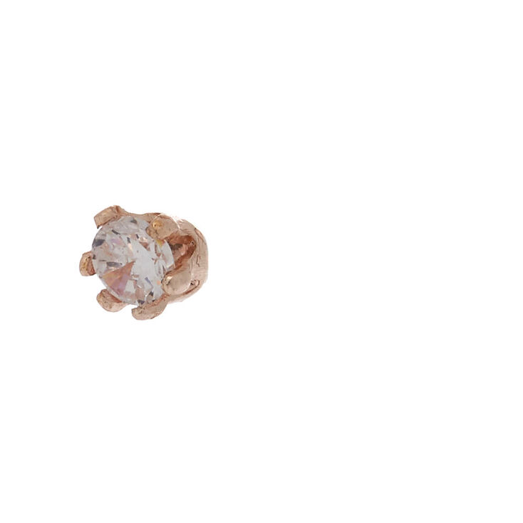 Rose Gold Cubic Zirconia Round Stud Earrings - 2MM,