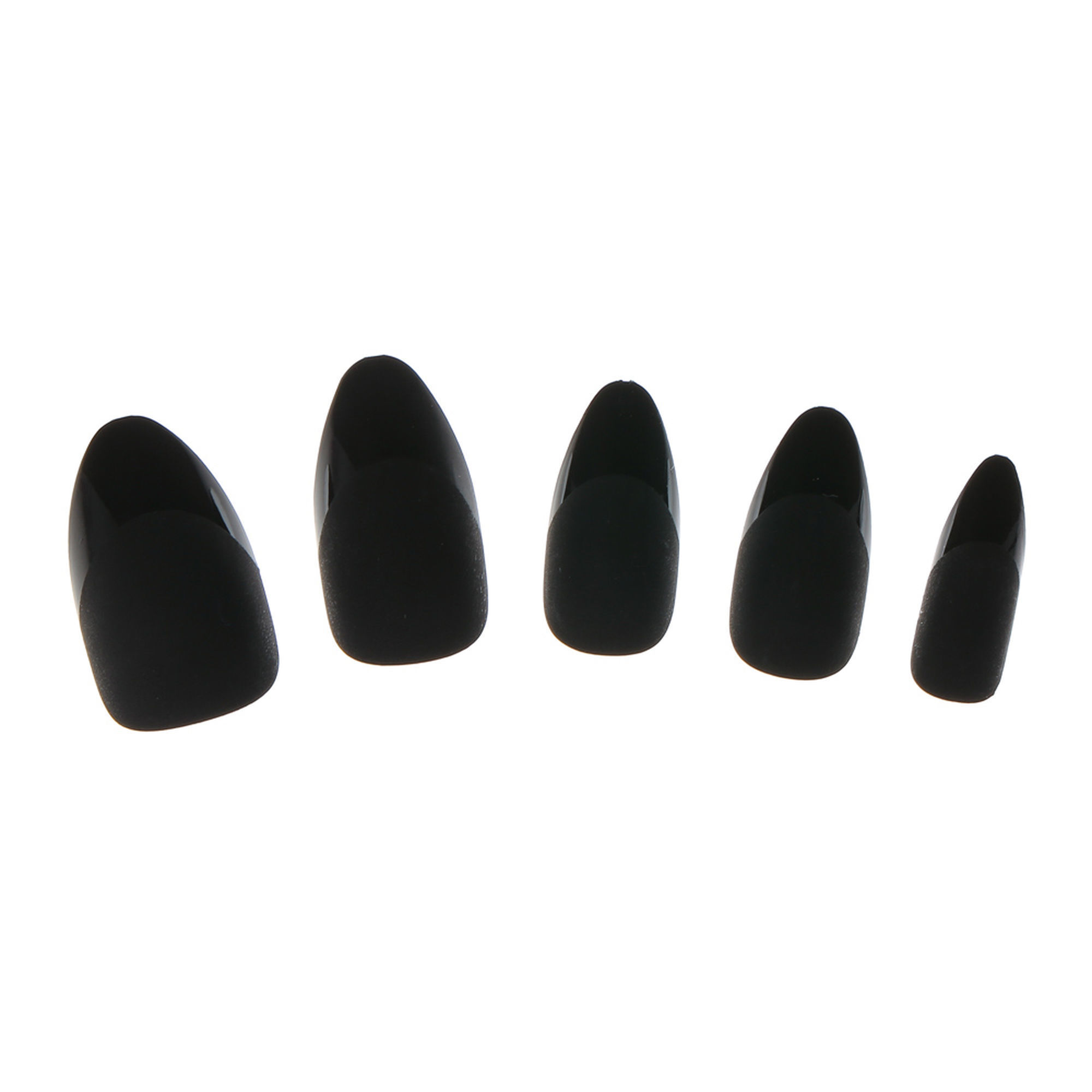 Matte Black French Manicure Stiletto False Nails | Claire\'s US