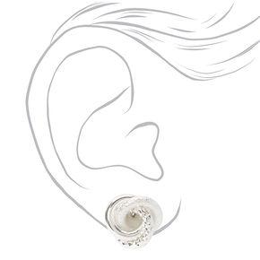 Clous d'oreilles à clip nœud texturé couleur argentée,