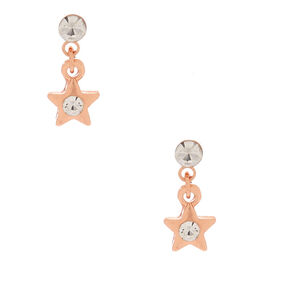 18kt Rose Gold Plated Crystal Star Dangly Stud Earrings,