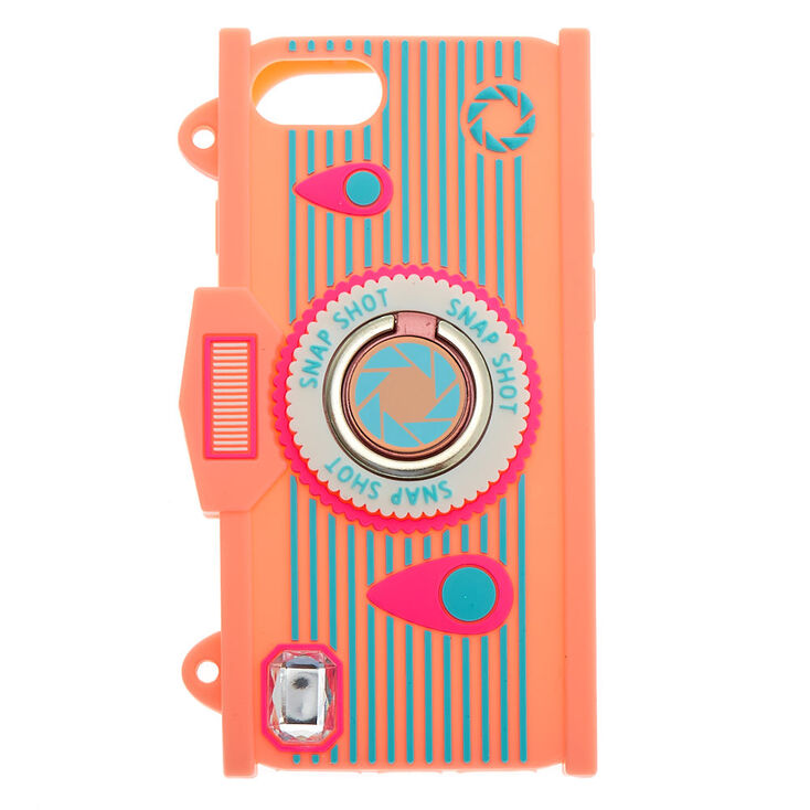 Pink Camera Silicone Ring Holder Phone Case - Fits iPhone® 6/7/8/SE,