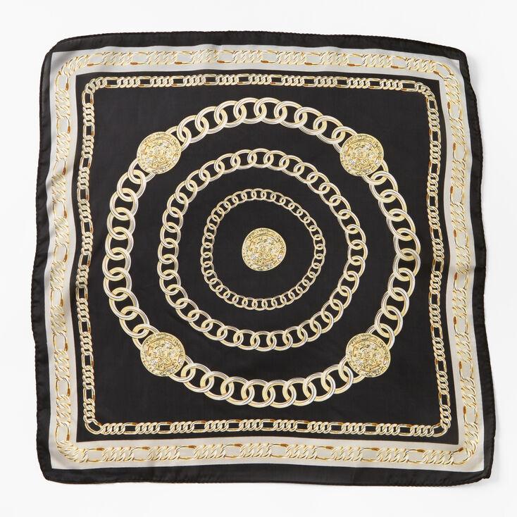 Chain Print Bandana Headwrap - Black,