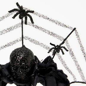 Glitter Spider Web Crown Headband - Black,