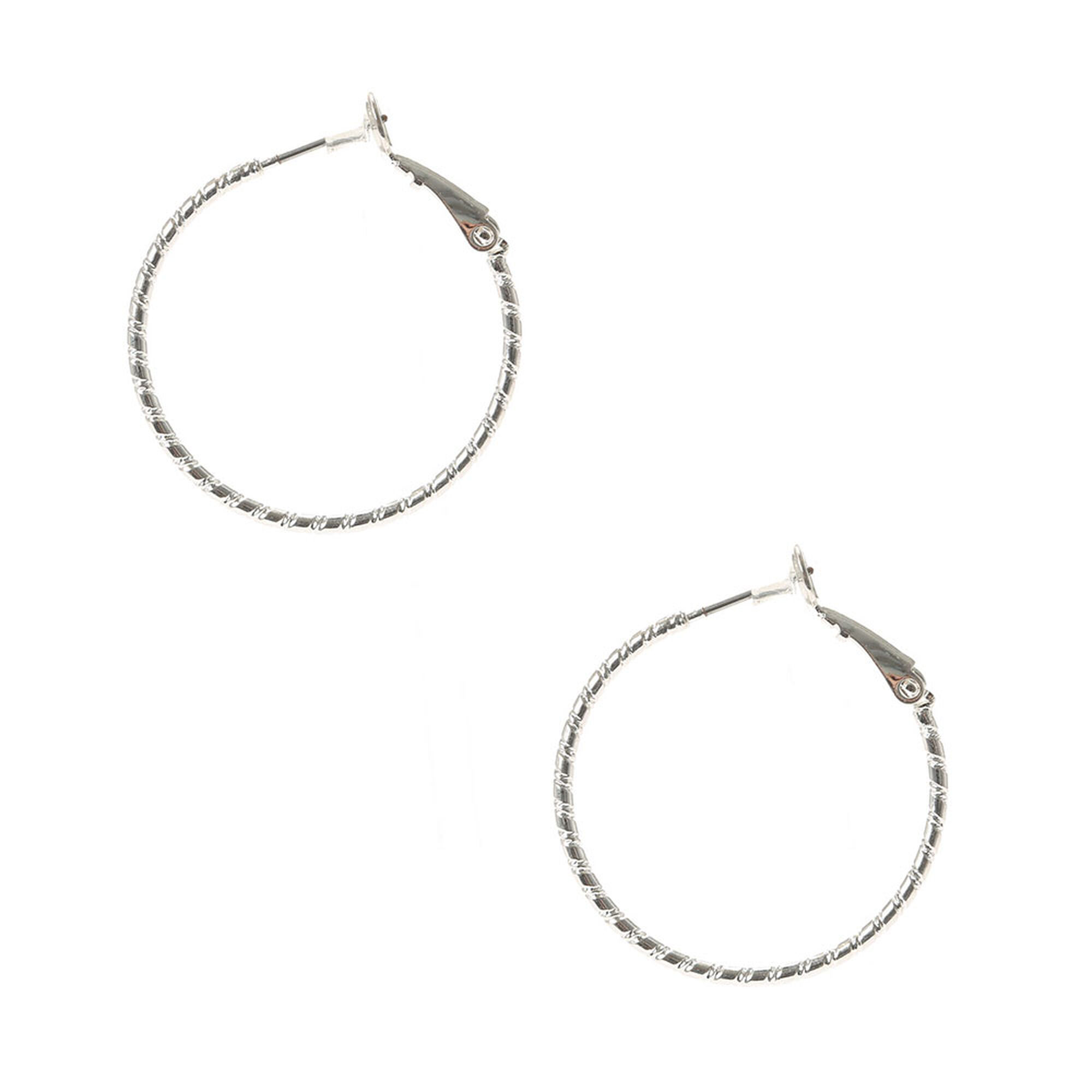 Silver 30mm Textured Hoop Earrings