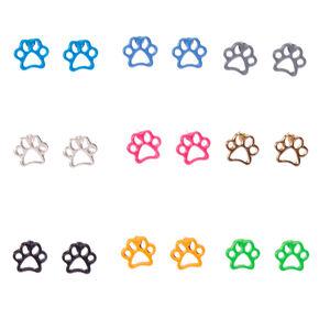 Rainbow Paw Print Stud Earrings - 9 Pack,