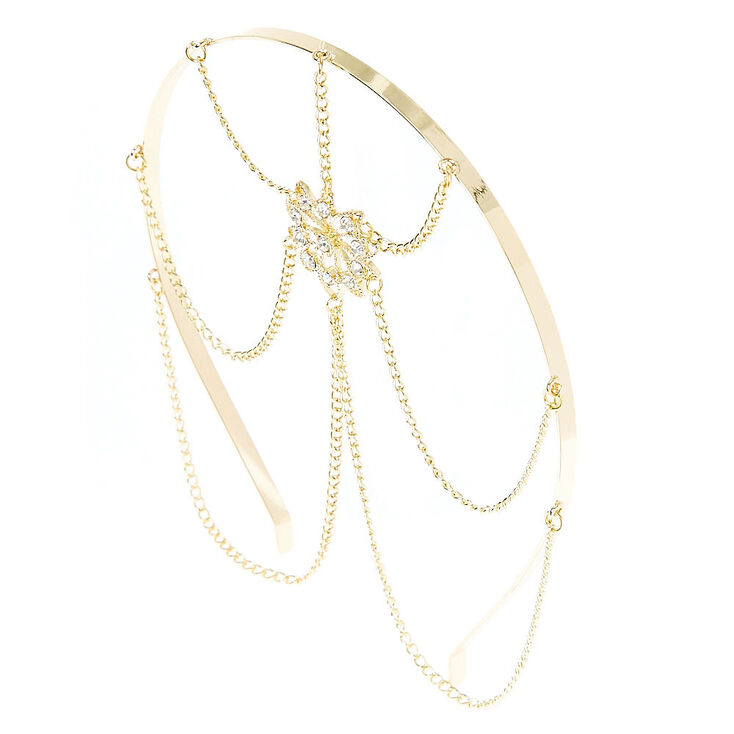 Gold Flower Medallion Head Chain,
