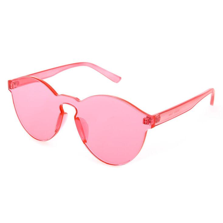 451950d002 Rimless Pink Tinted Transparent Sunglasses