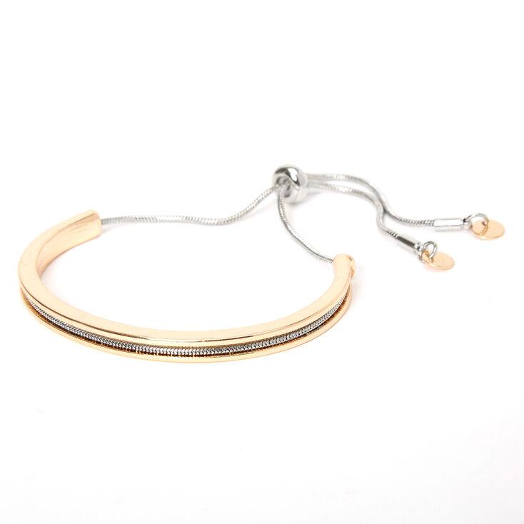 Mixed Metal Disc Bolo Cuff Bracelet,