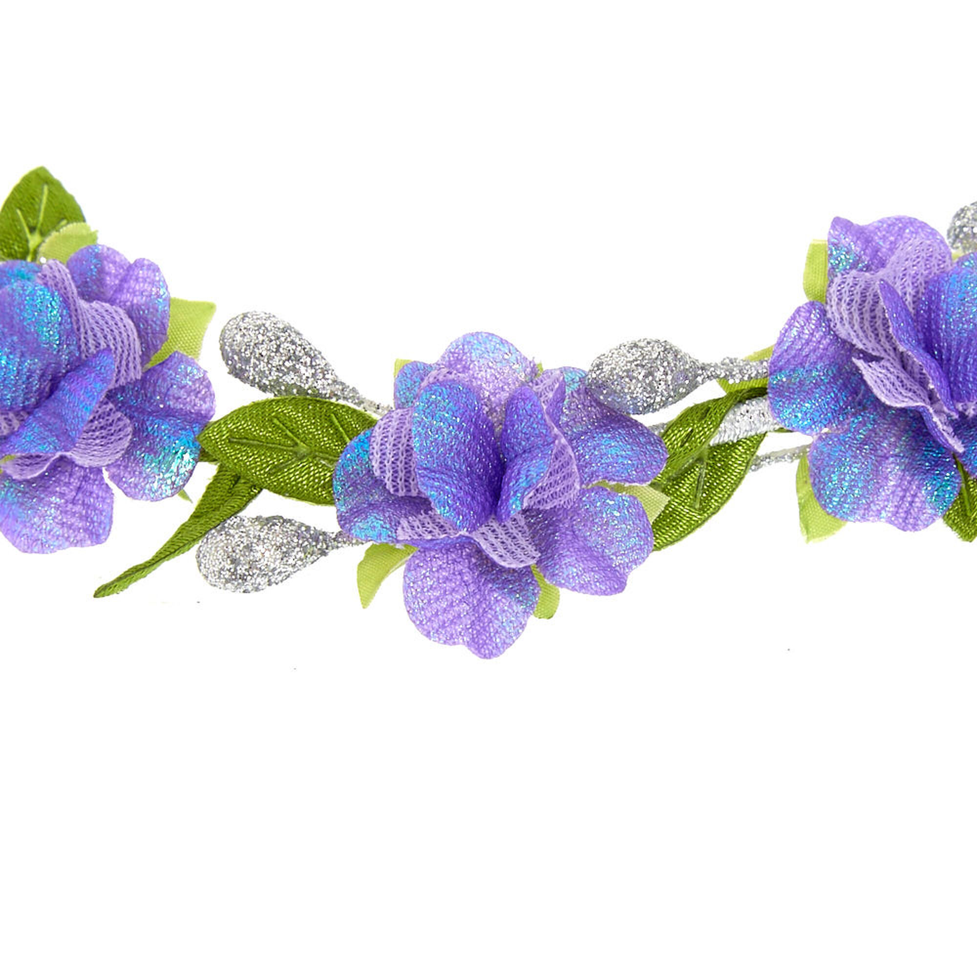 Purple Silver Flower Crown Headwrap Claires Us