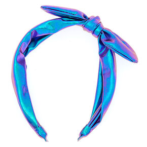 Metallic Mermaid Knotted Bow Headband - Lilac,