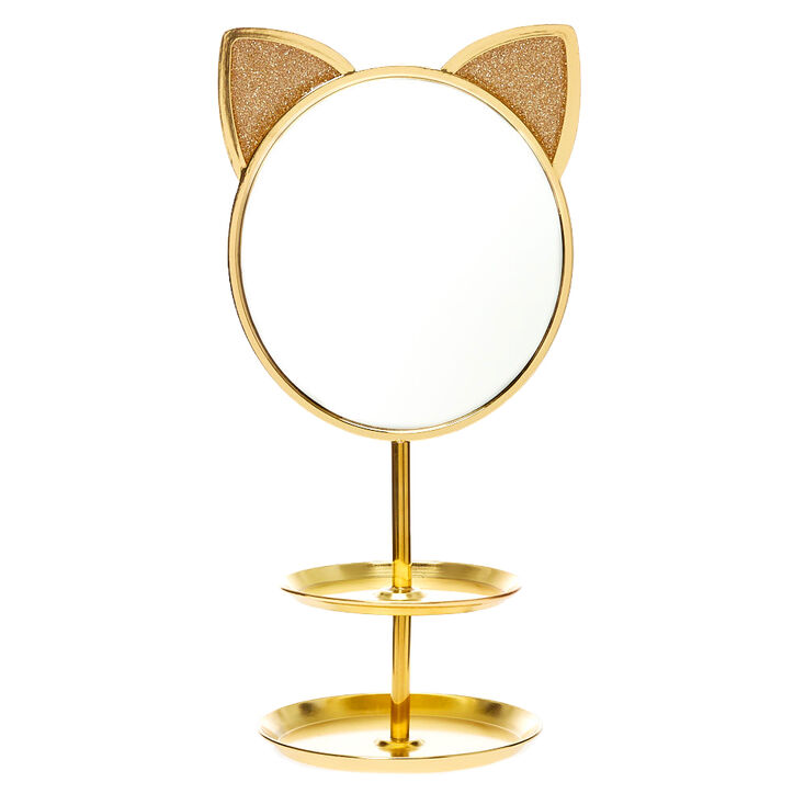 Gold Cat Mirror Jewelry Holder,