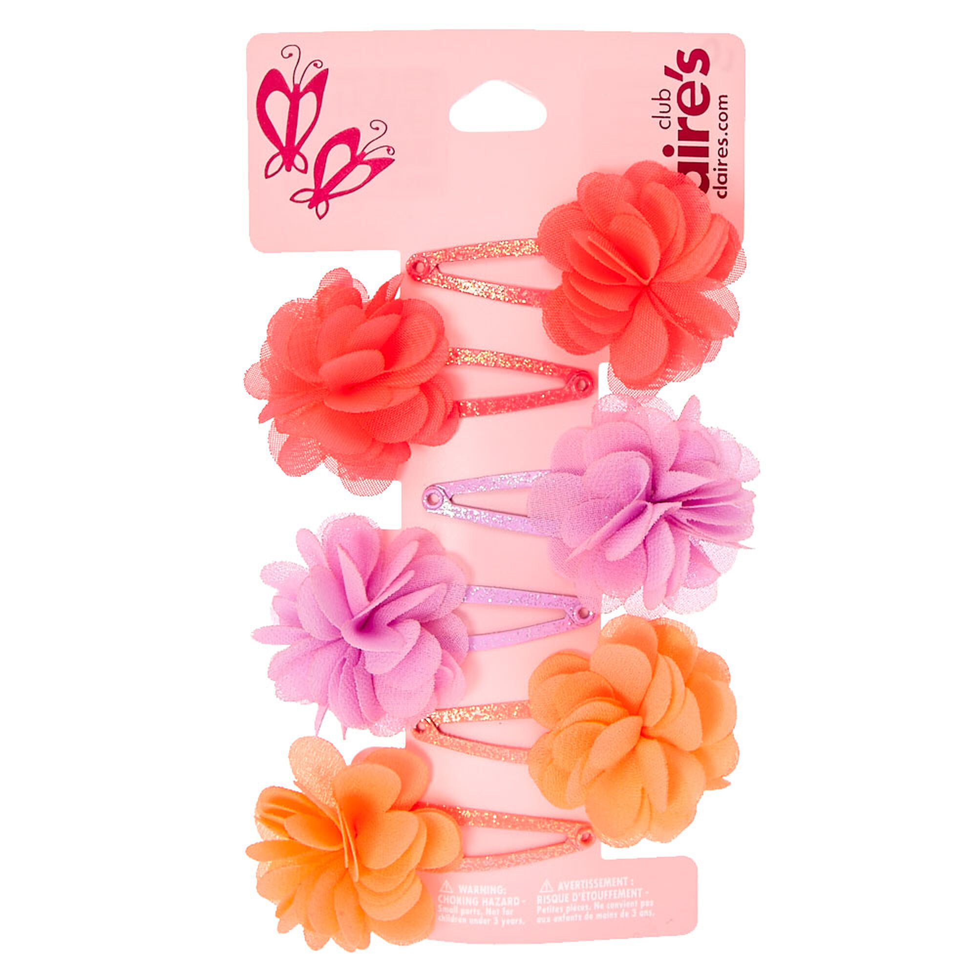 Claires Club Chiffon Flower Snap Hair Clips 6 Pack Claires Us