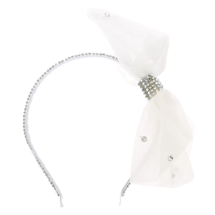 Kids Faux Crystal White Oversized Bow Headband  ebdc0d76d01