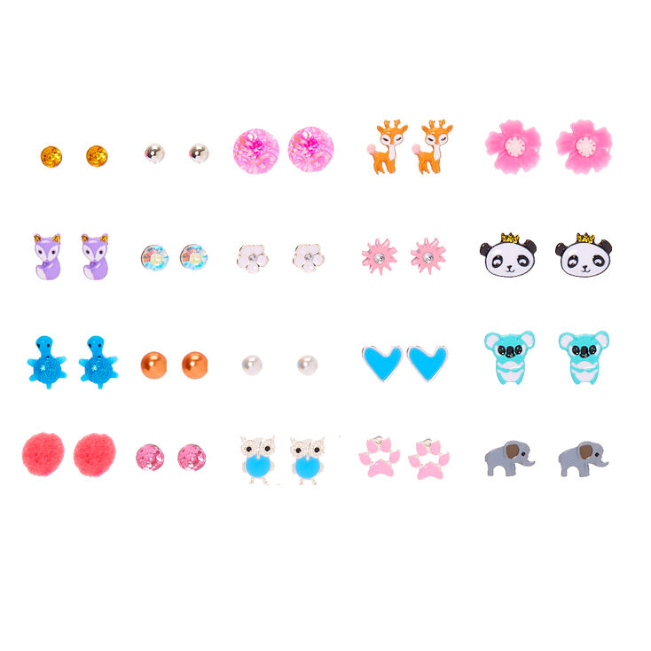 Animal Mix Stud Earrings - 20 Pack,