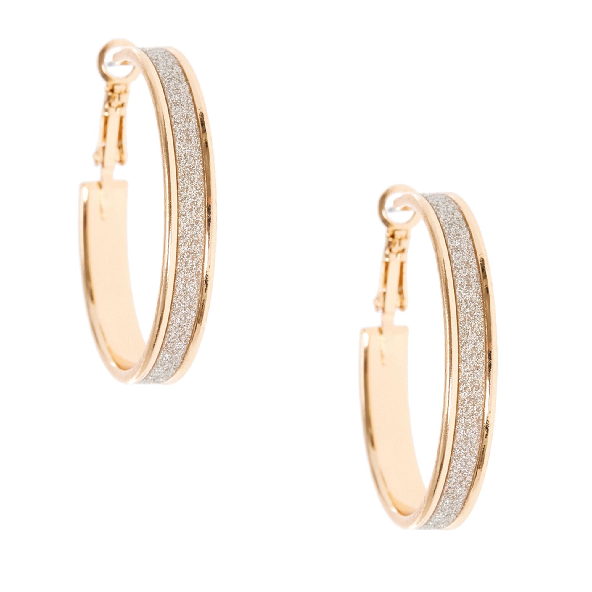 35mm Gold Silver Glitter Lined Hoop Earrings