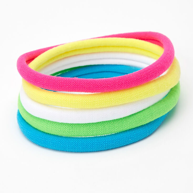 Neon Thick Rolled Hair Bobbles - 5 Pack,