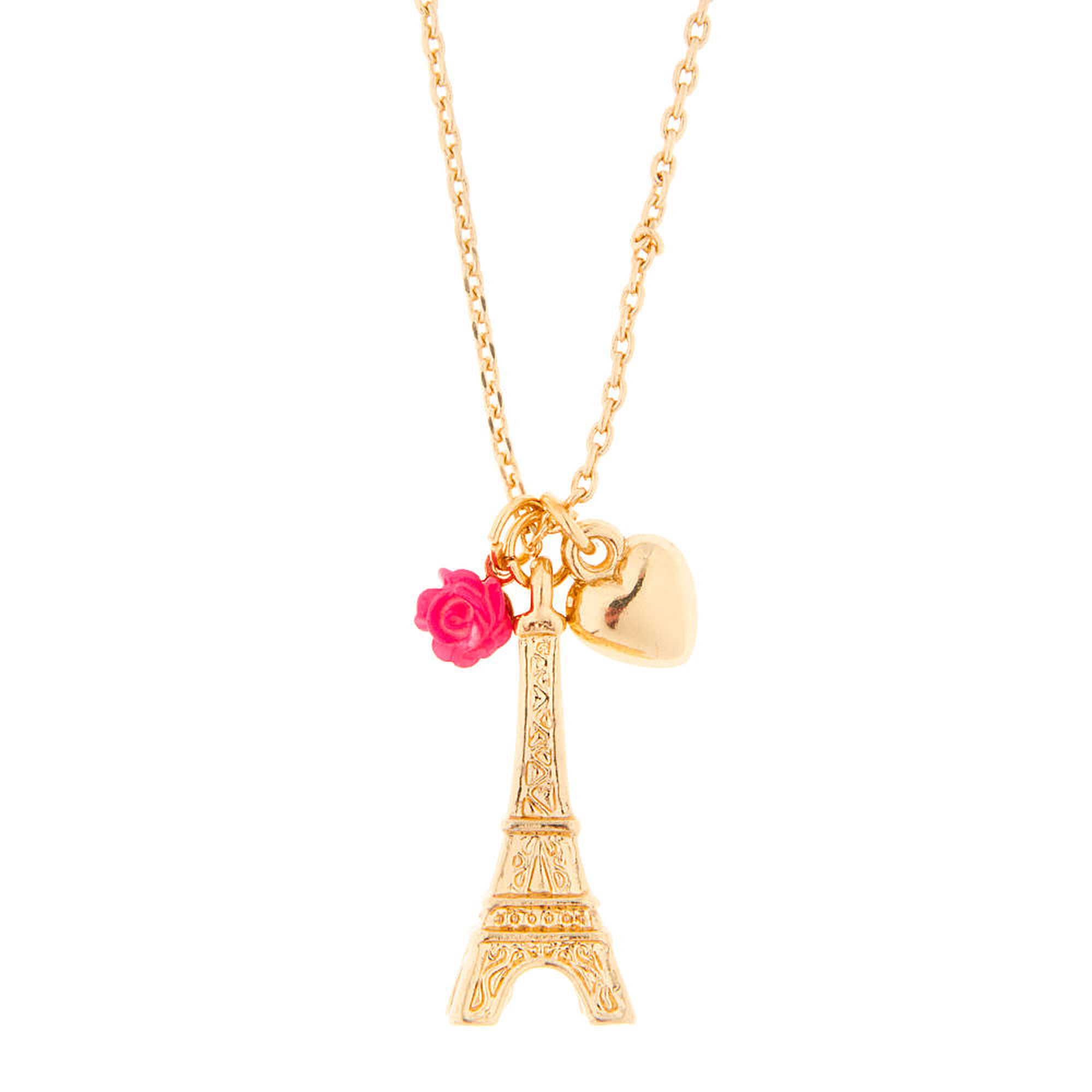 Gold eiffel tower heart and carved rose pendant necklace claires us gold eiffel tower heart and carved rose pendant necklace aloadofball Images