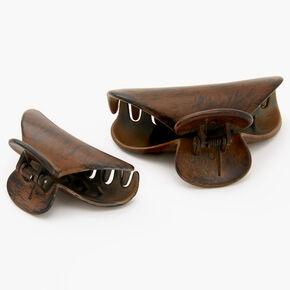 Pinces à cheveux motif grain en bois d'imitation - Lot de 2,