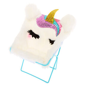 Furry Unicorn Chair Phone Holder - White,