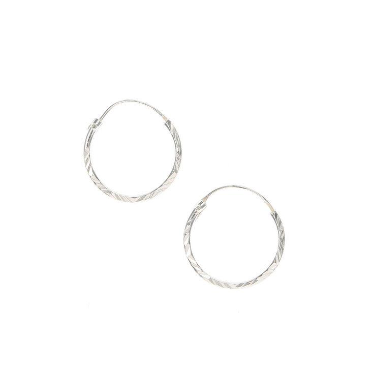 Sterling Silver 15MM Textured Hoop Earrings,