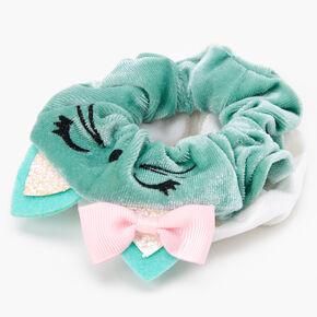 Claire's Club Medium Cat Scrunchie - 2 Pack, Mint,