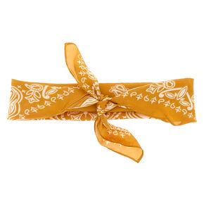Silky Paisley Bandana Headwrap - Mustard,