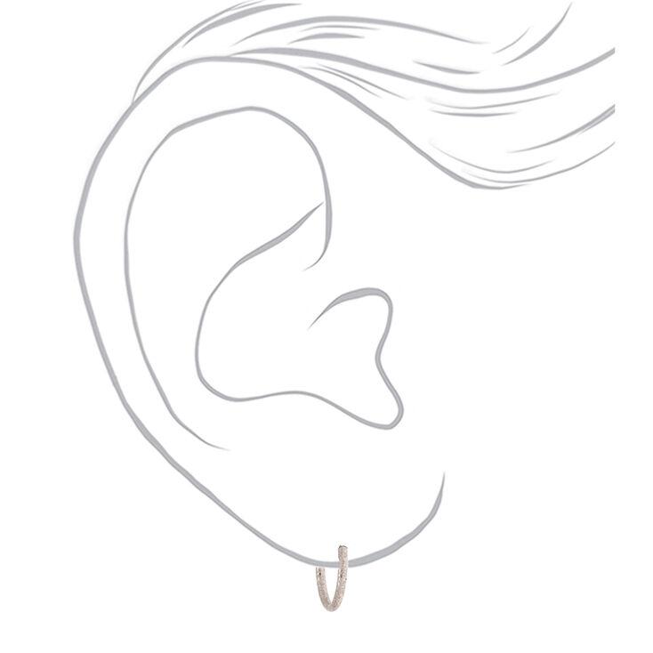Silver 10MM Sandblasted Hoop Earrings,