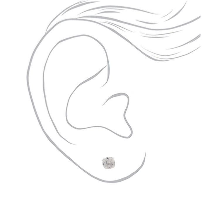 Sterling Silver Cubic Zirconia 5MM Round Crystal Stud Earrings,