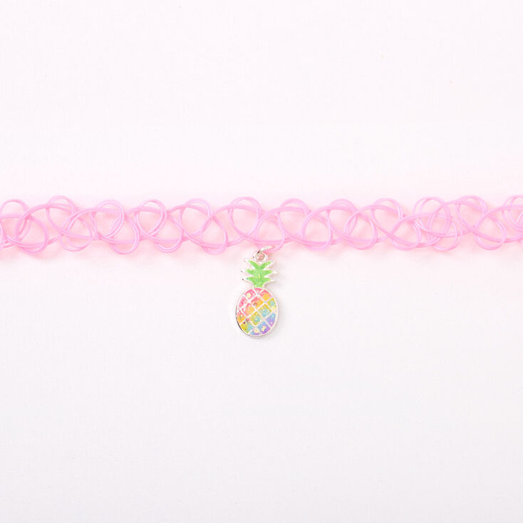 Pastel Pineapple Tattoo Choker Necklace - Pink,