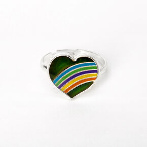 Silver Rainbow Heart Mood Ring,
