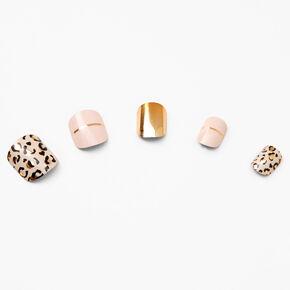 Faux ongles autocollants carrés léopard métalliques - Lot de 24,