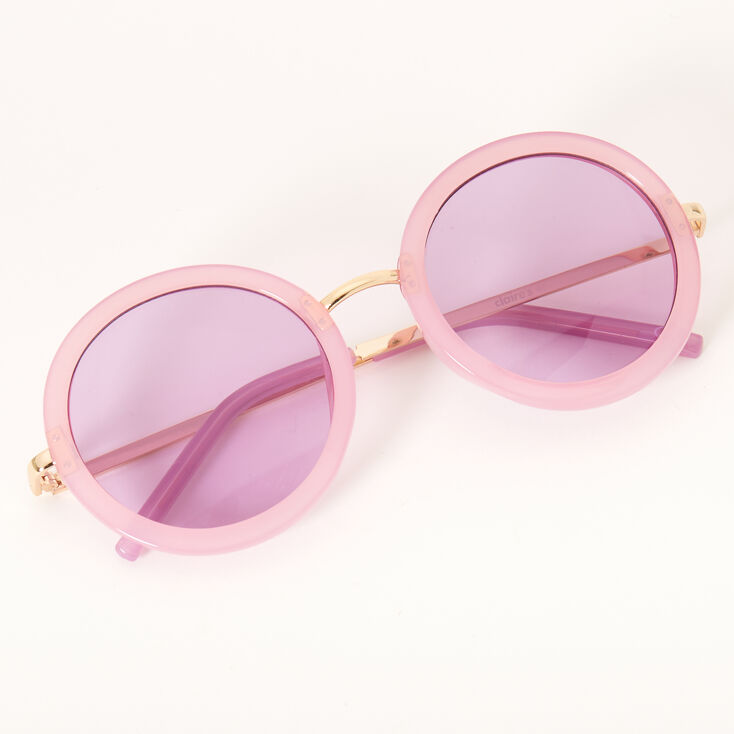 Pastel Round Outlined Lens Sunglasses - Black,