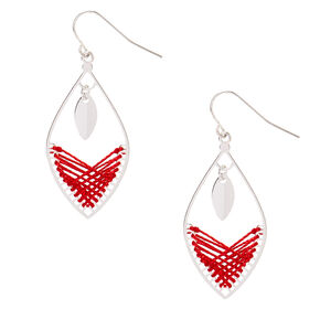 "Silver 1.5"" Threaded Drop Earrings - Red,"